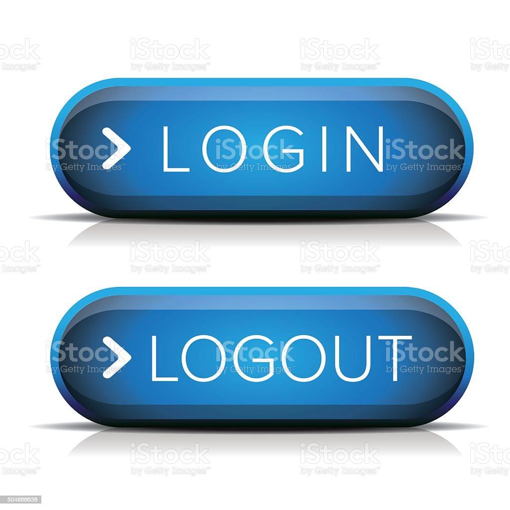 Login logout button vector vector art illustration