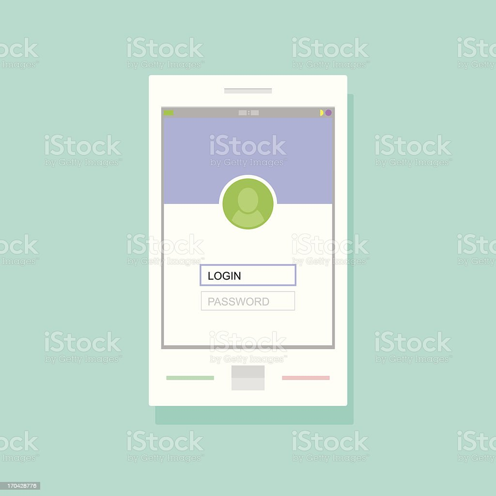 Login screen of social networking application on mobile device royalty-free stock vector art