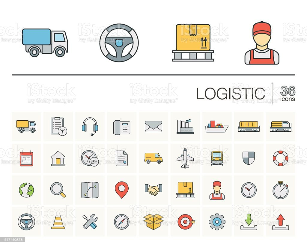 Logistic and distribution color vector icons vector art illustration
