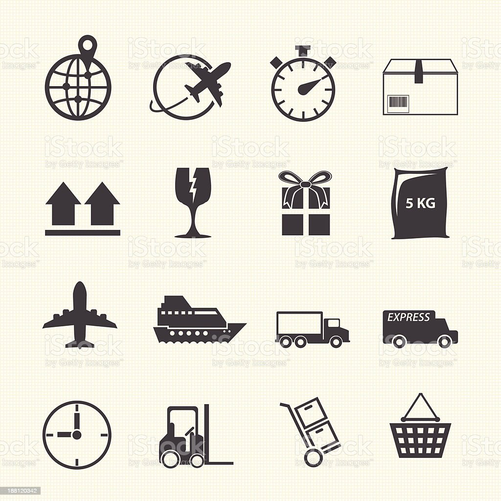 Logistic and shipping icon set vector art illustration