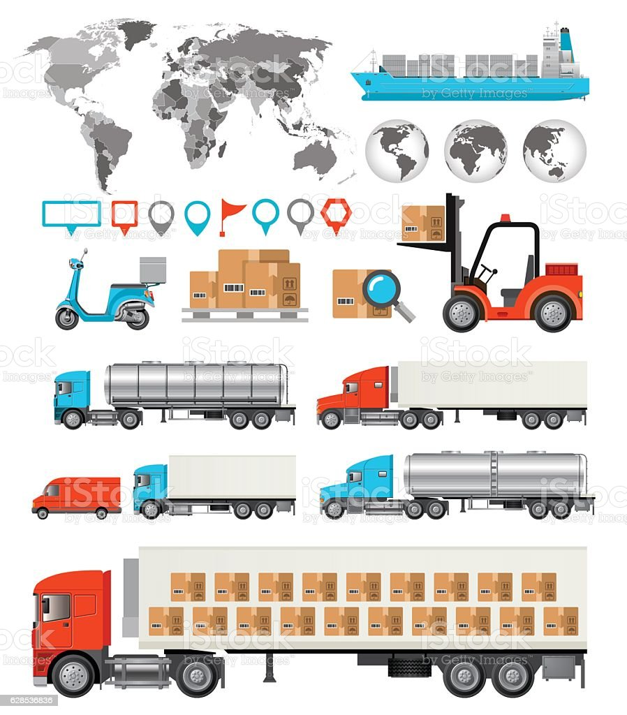 Logistic and Transport  Infographic vector art illustration