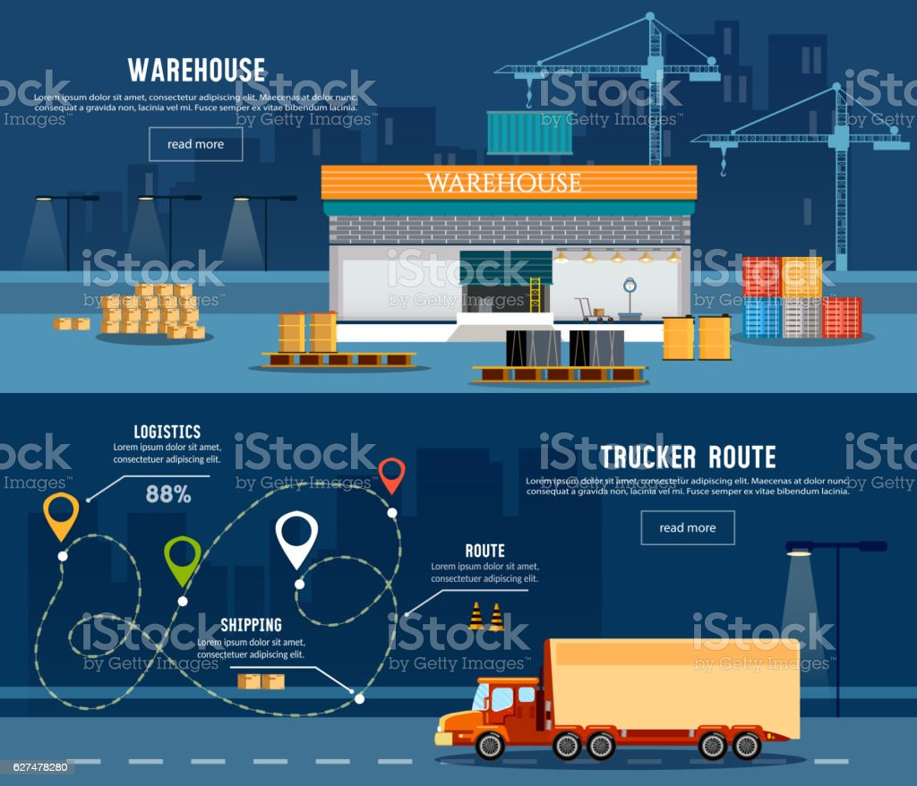 Logistic banner, delivery services, trucking industry vector art illustration