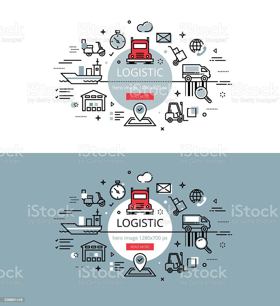 Logistic. Flat line color hero images design concept vector art illustration