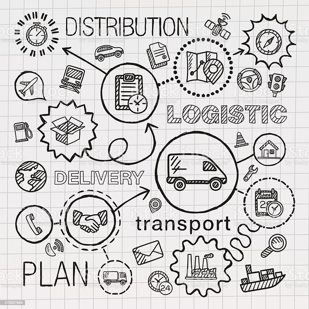 Logistic hand draw integrated icons set. Vector sketch infographic illustration vector art illustration