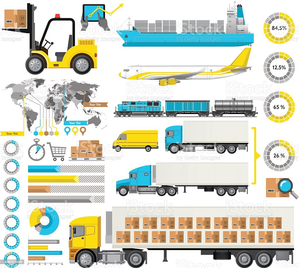 Logistic Infographic vector art illustration