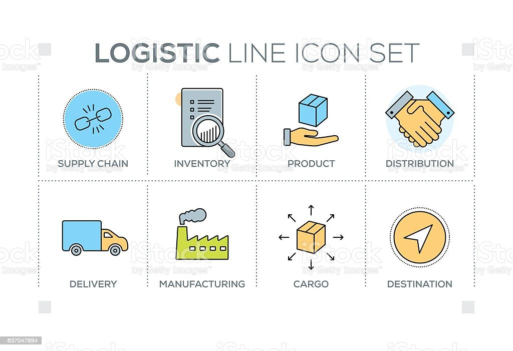 Logistic keywords with line icons vector art illustration
