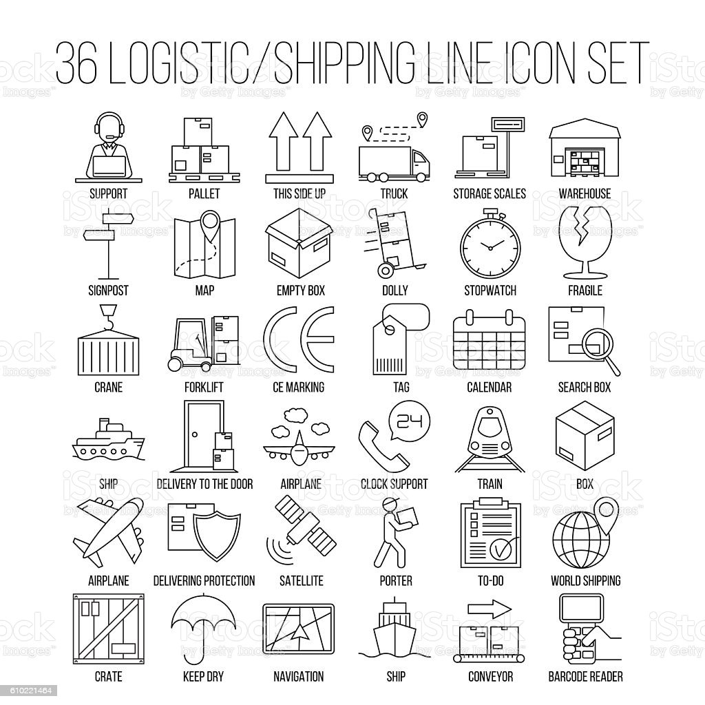 Logistic Line Icon Set vector art illustration