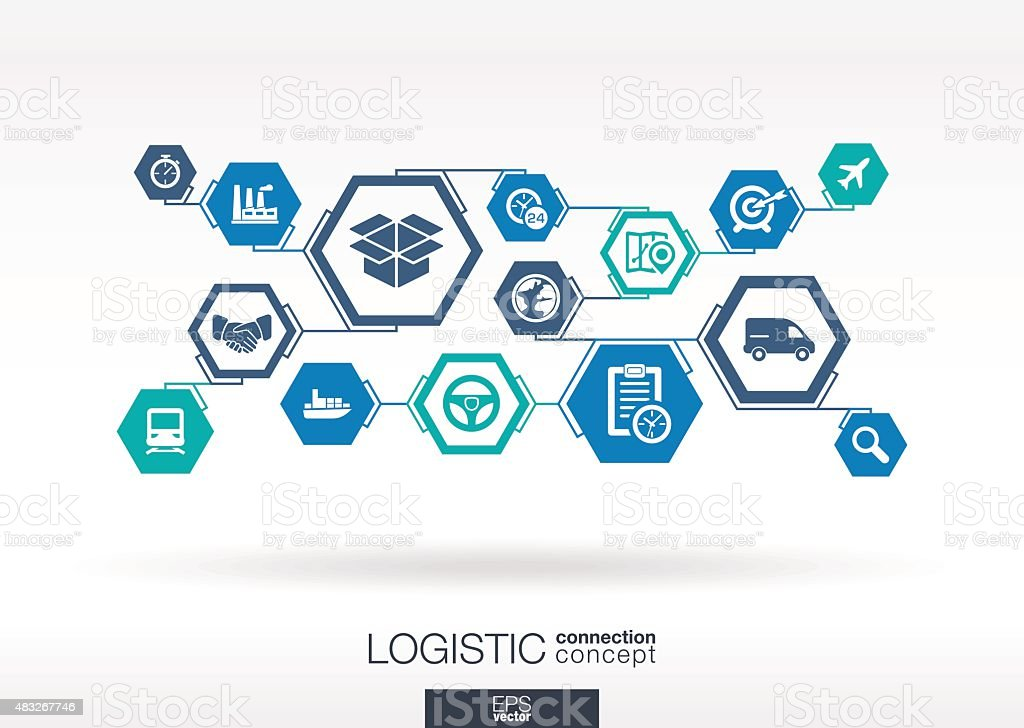 Logistic network. Hexagon abstract background with lines, polygons, integrate icons. vector art illustration