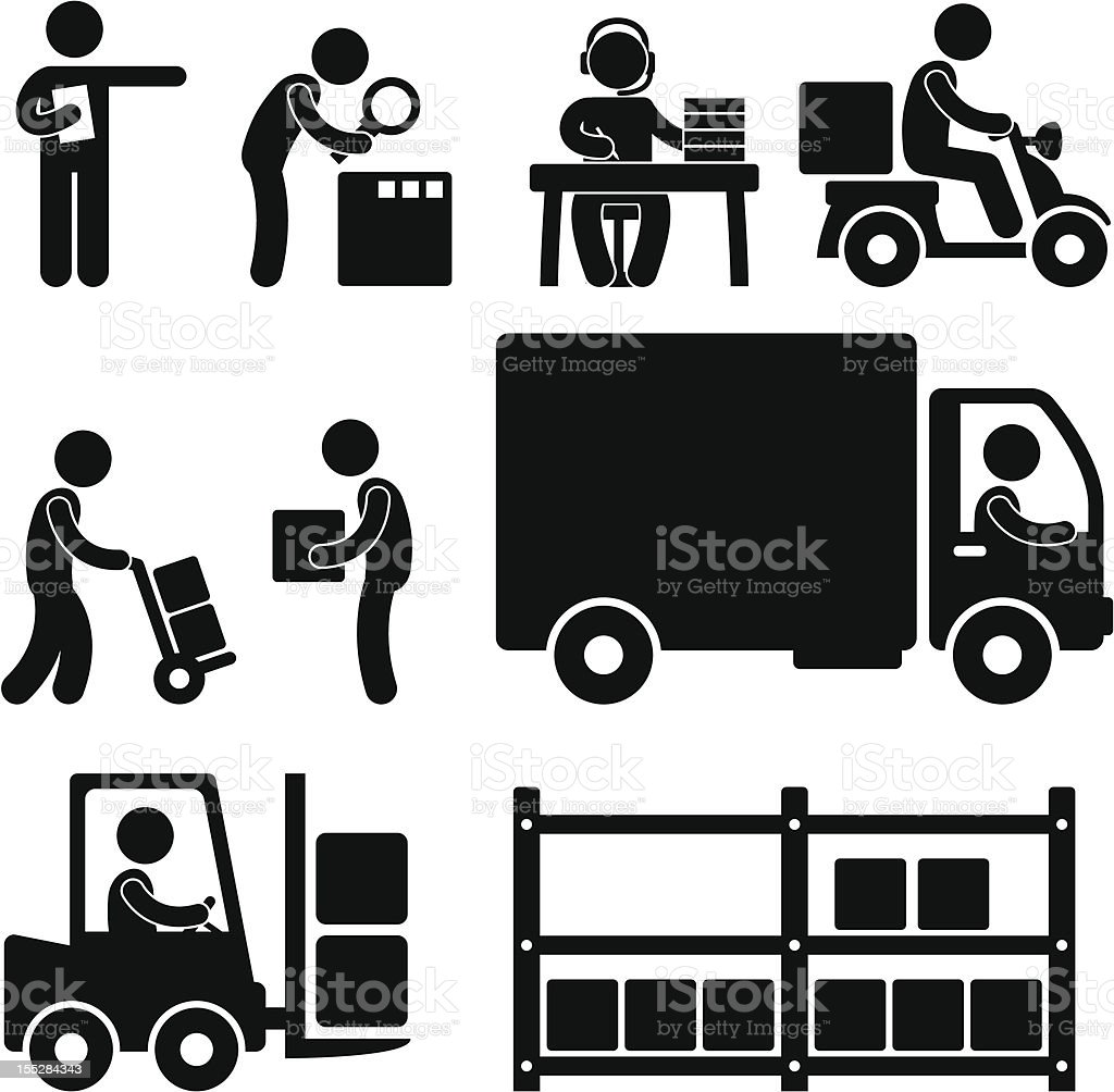 Logistic Warehouse Delivery Pictogram vector art illustration