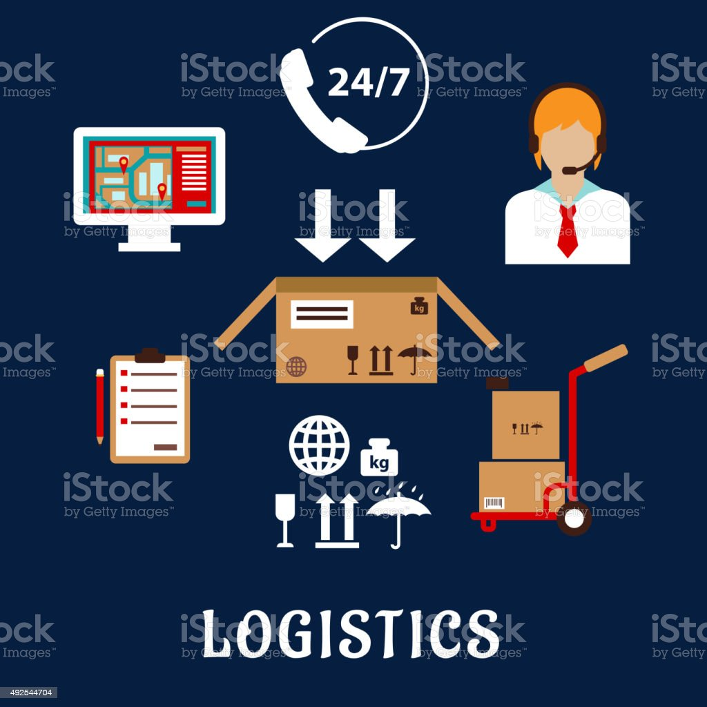 Logistics and delivery flat icons vector art illustration