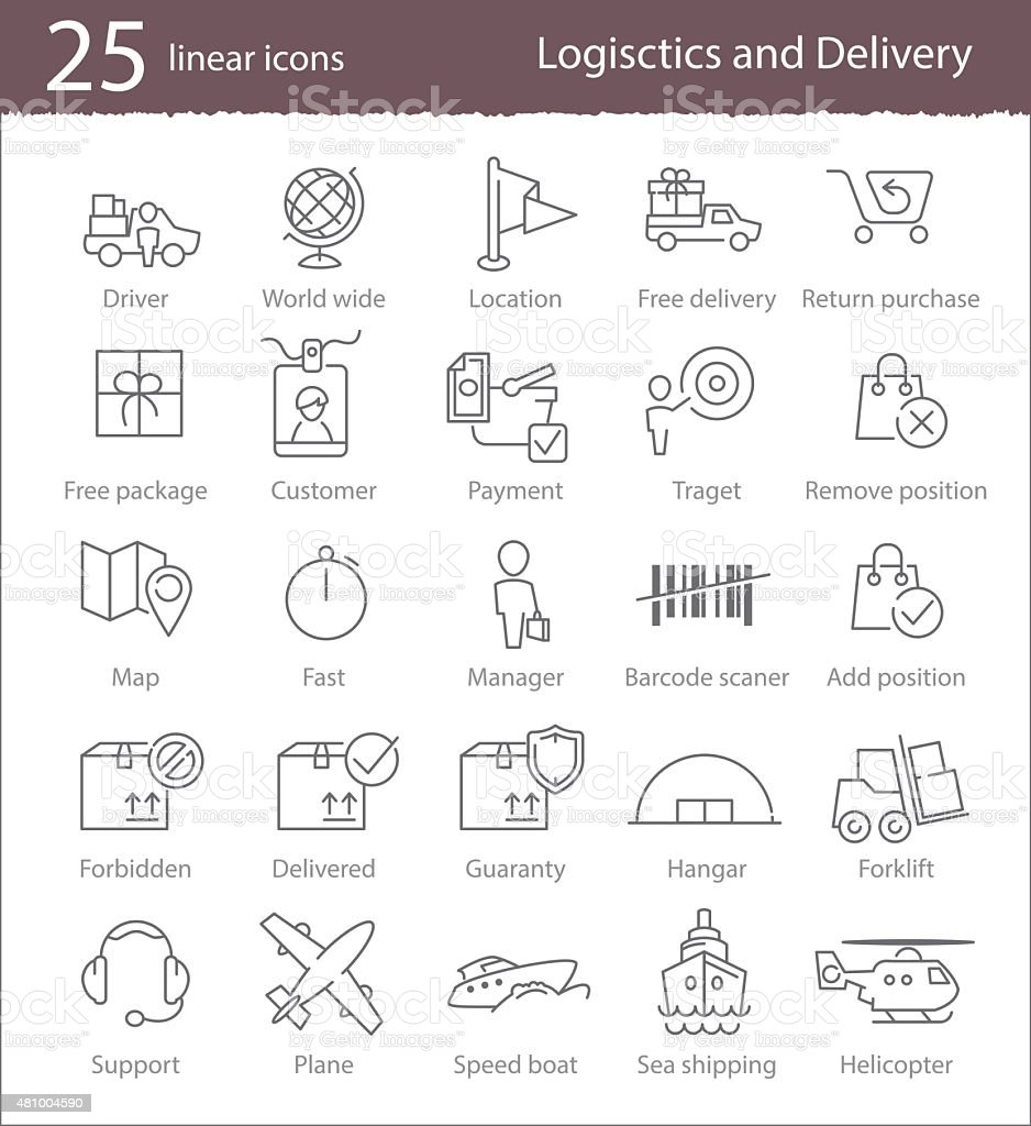 Logistics and delivery icons vector art illustration