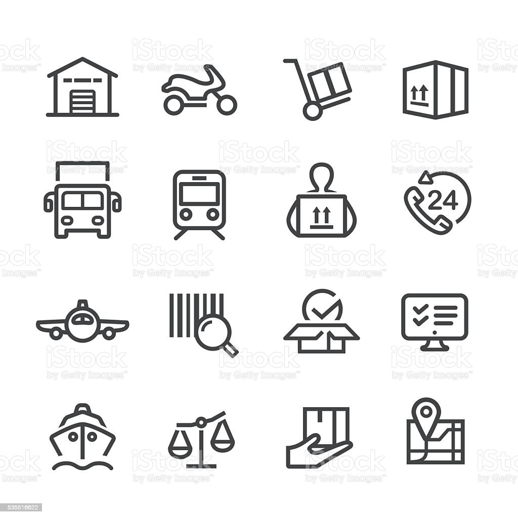 Logistics and Shipping Icons - Line Series vector art illustration