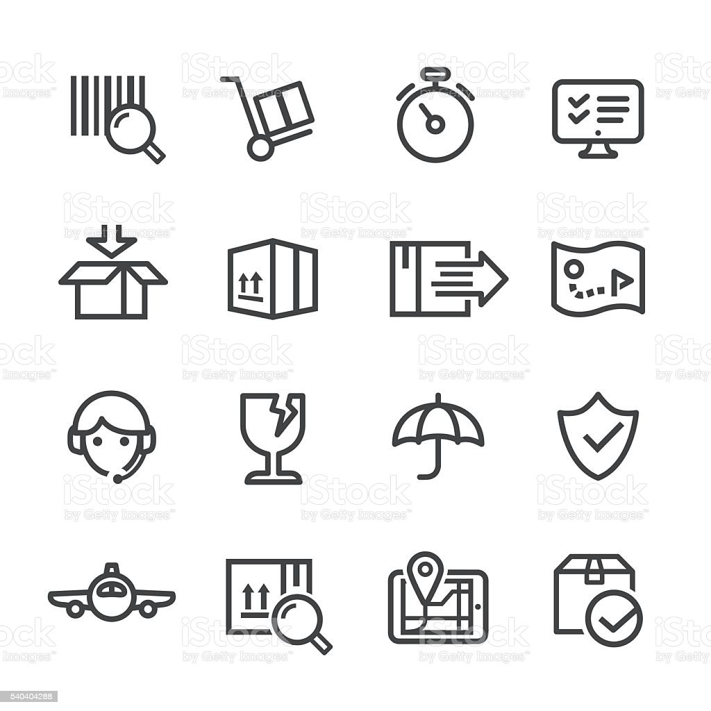 Logistics and Shipping Icons Set - Line Series vector art illustration
