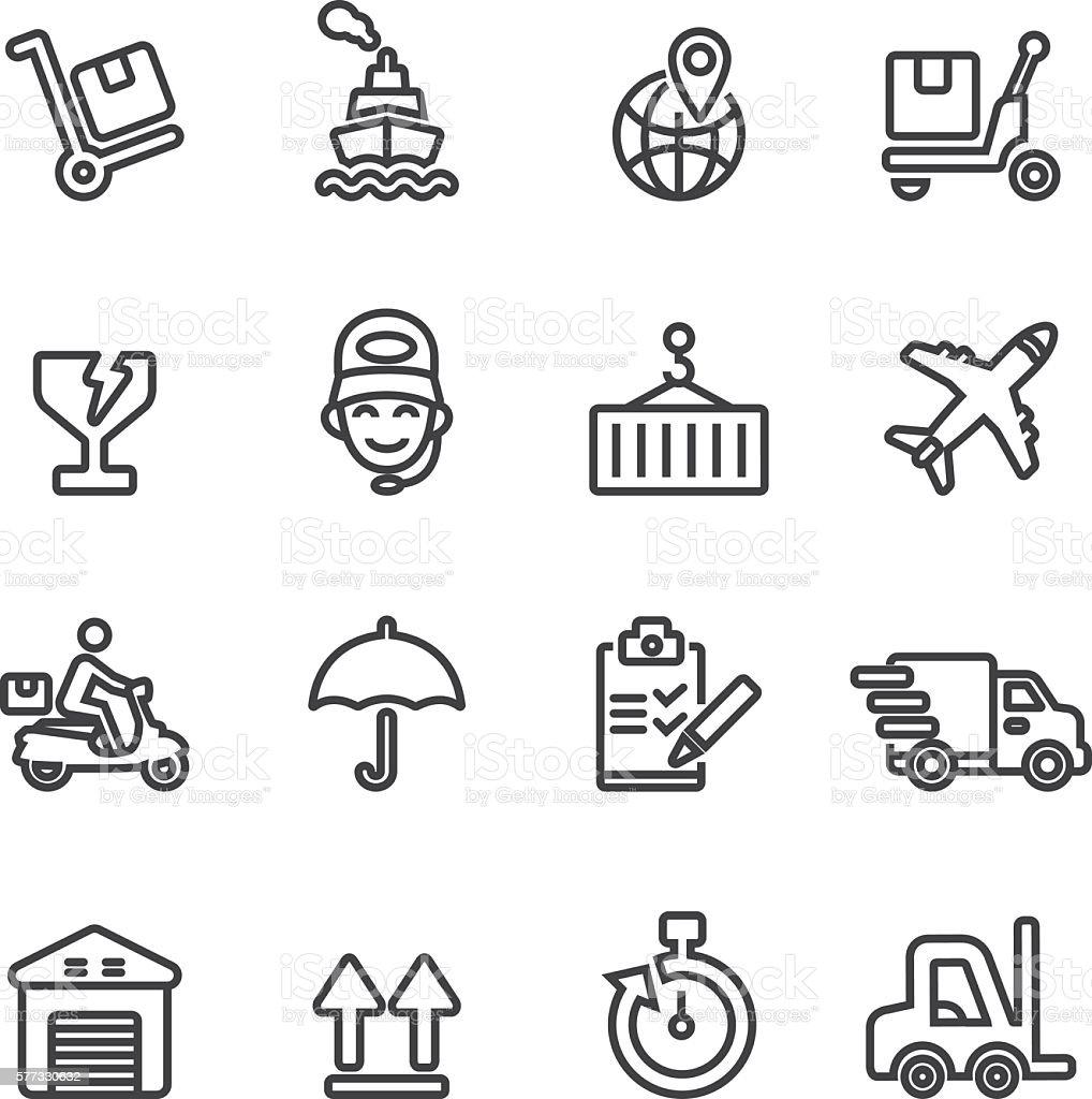 Logistics and Shipping Line icons | EPS10 stock photo
