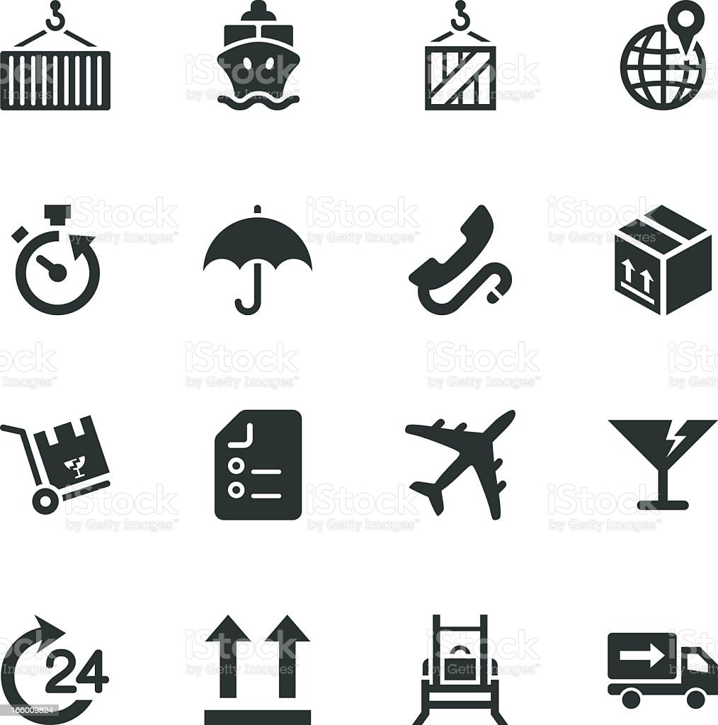 Logistics and Shipping Silhouette Icons royalty-free stock vector art