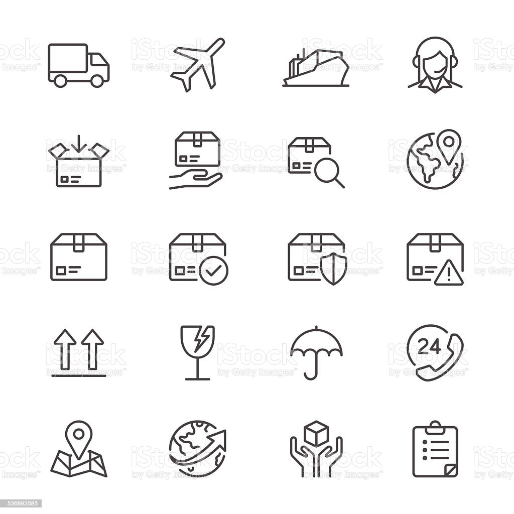 Logistics and shipping thin icons vector art illustration