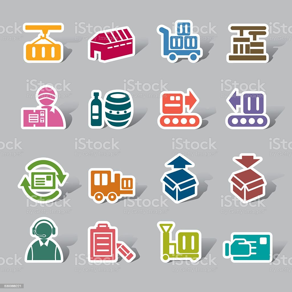 Logistics and Transport Color Icon Label vector art illustration