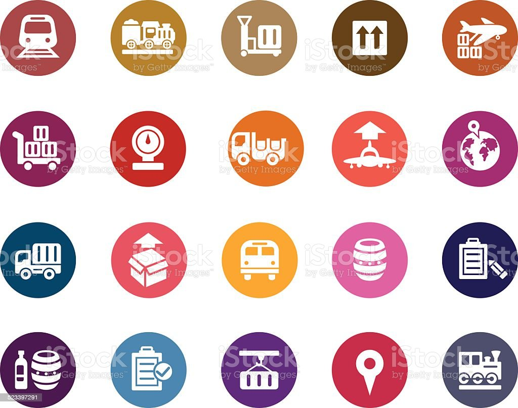 Logistics and Transport Color Icons vector art illustration