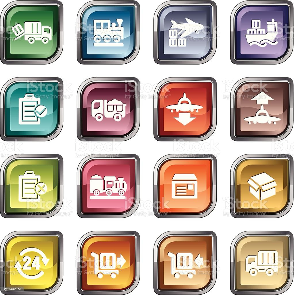 Logistics and Transport Icons vector art illustration