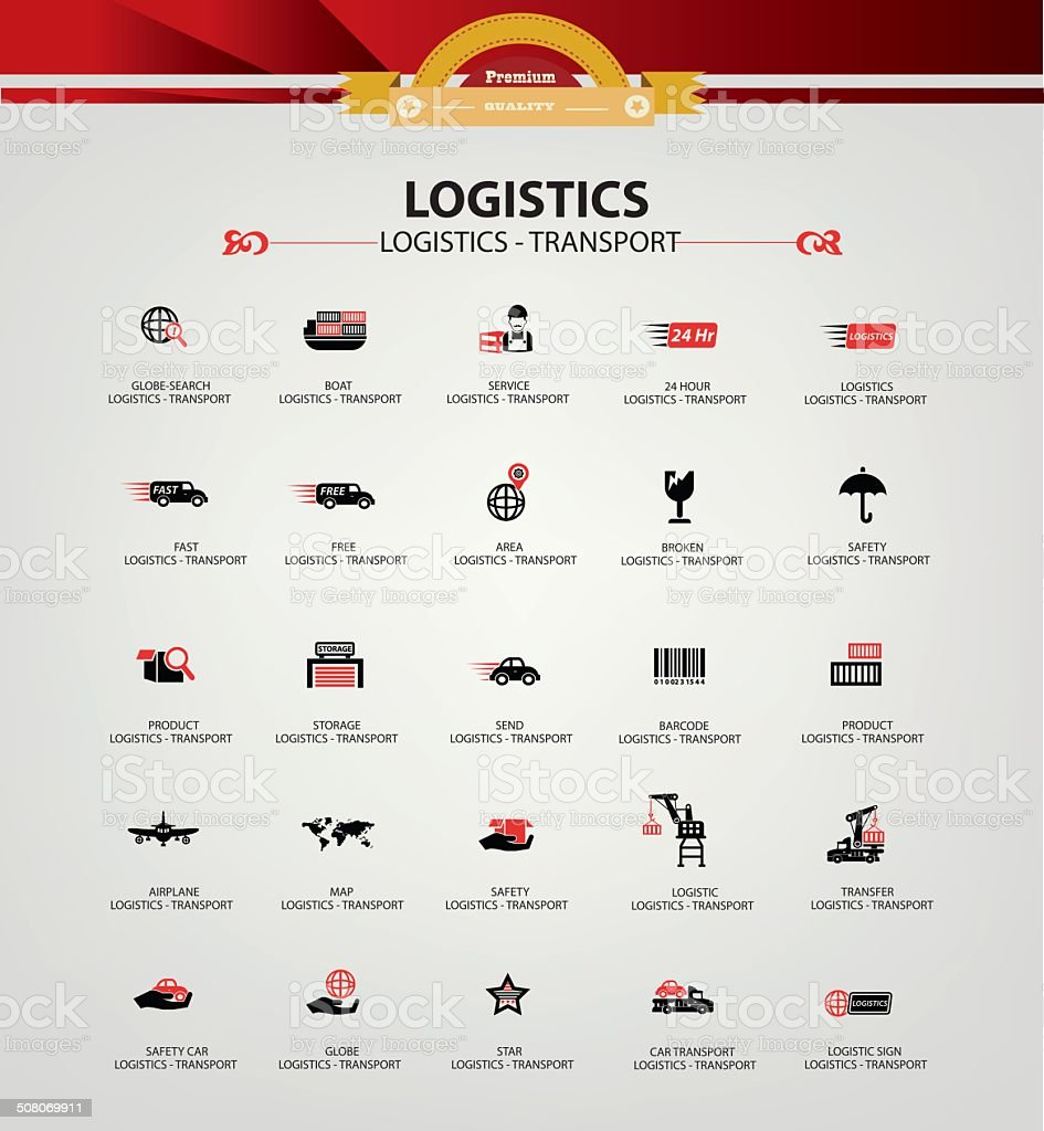 Logistics and transport icons,Red version,vector vector art illustration