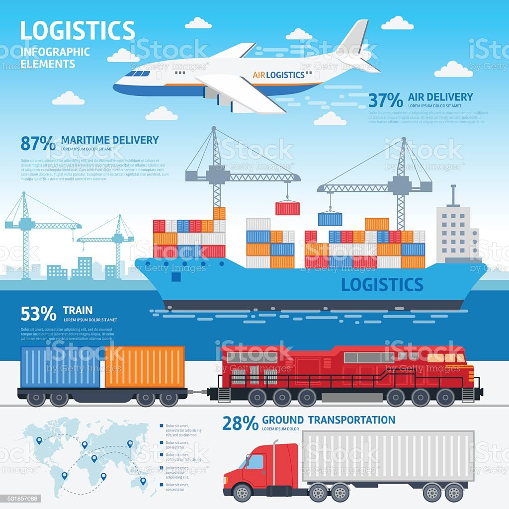 Logistics and transportation infographic elements vector art illustration