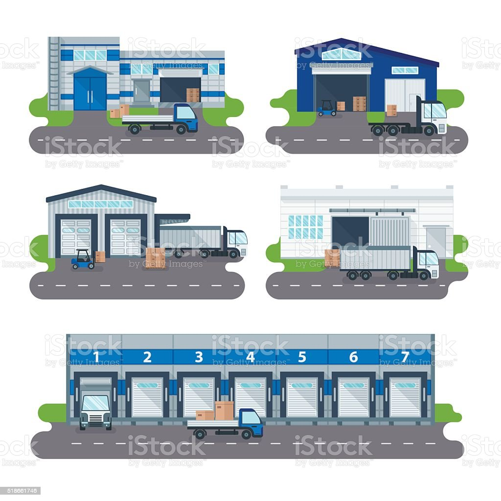 Logistics collection warehouse delivery center, loading trucks, forklifts workers vector vector art illustration