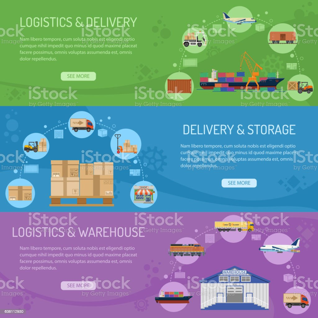Logistics delivery and storage Banners vector art illustration