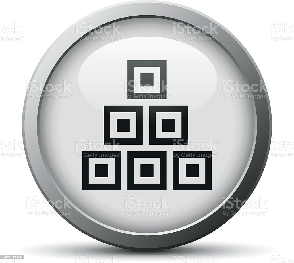 Logistics icon on a silver button. - Silver Series vector art illustration