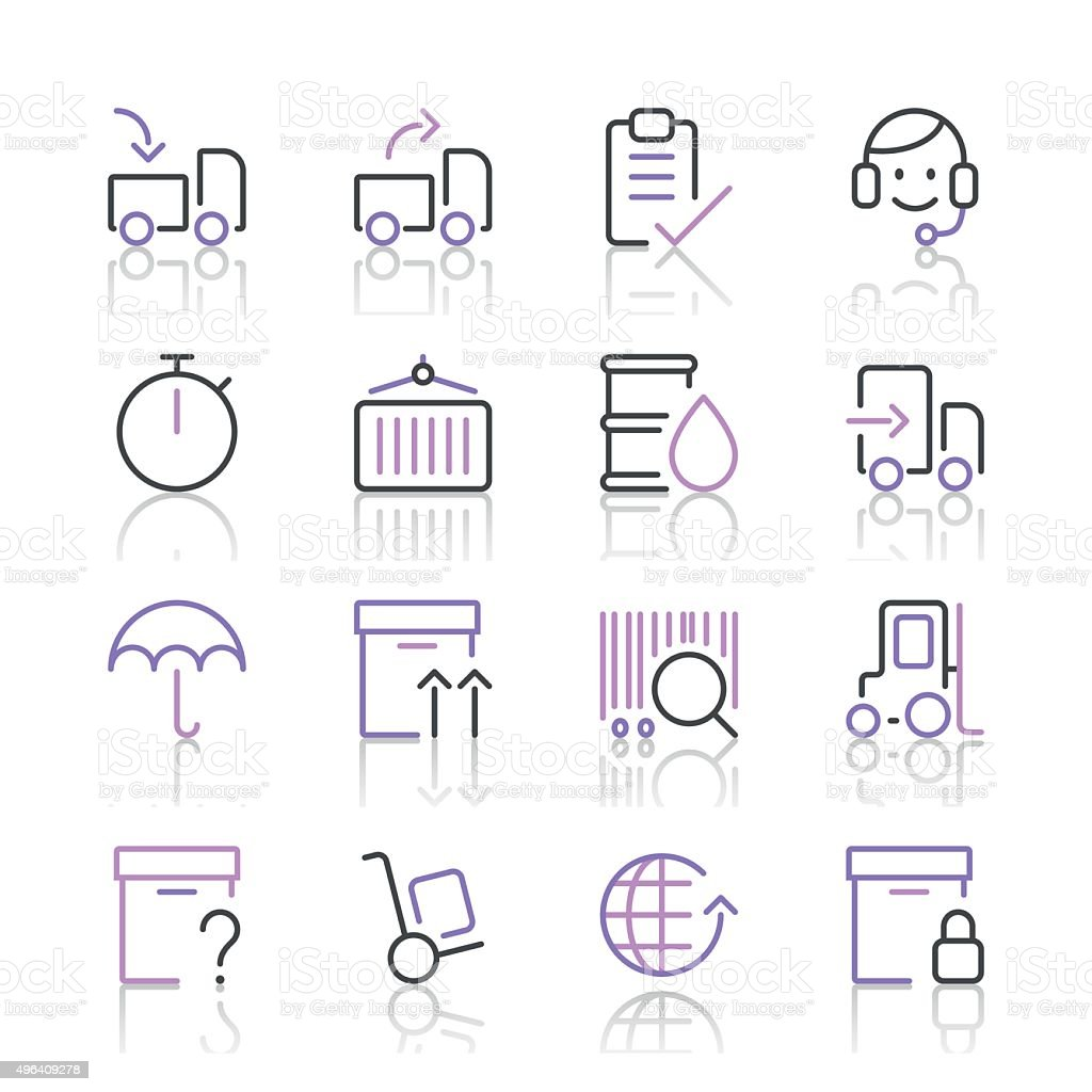 Logistics Icons set 1 | Purple Line series vector art illustration