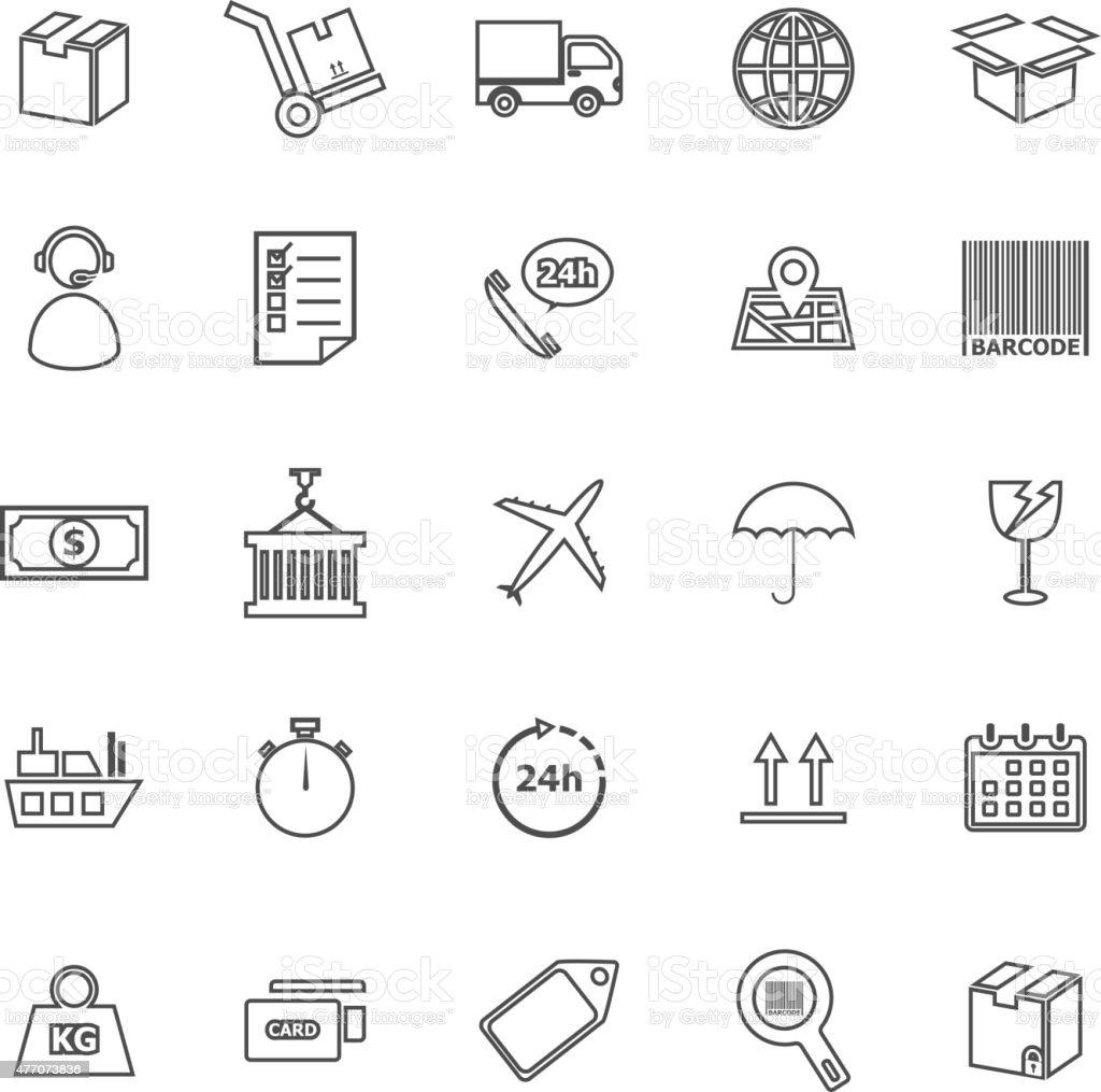 Logistics line icons on white background vector art illustration