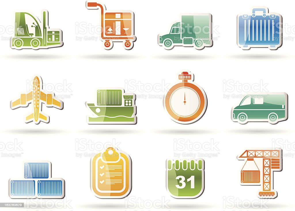logistics, shipping and transportation objects royalty-free stock vector art