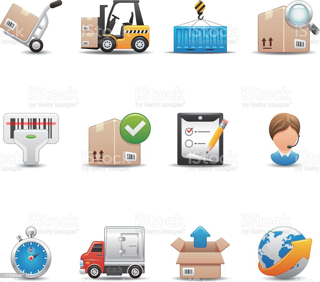 Logistics & Shipping Icon Set | Elegant Series royalty-free stock vector art