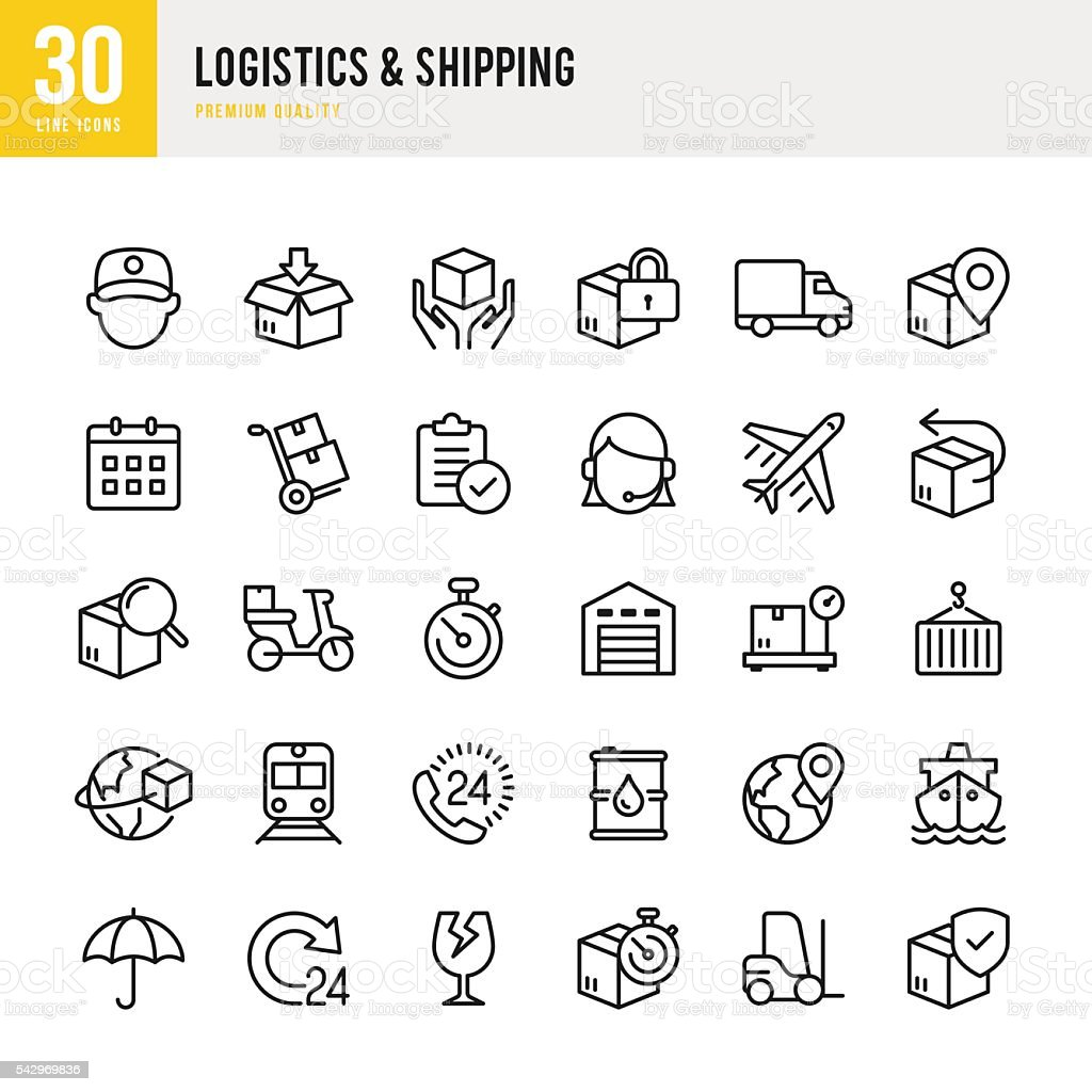 Logistics & Shipping - Thin Line Icon Set vector art illustration
