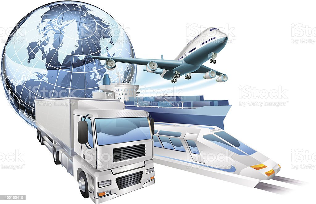 Logistics transport globe concept vector art illustration