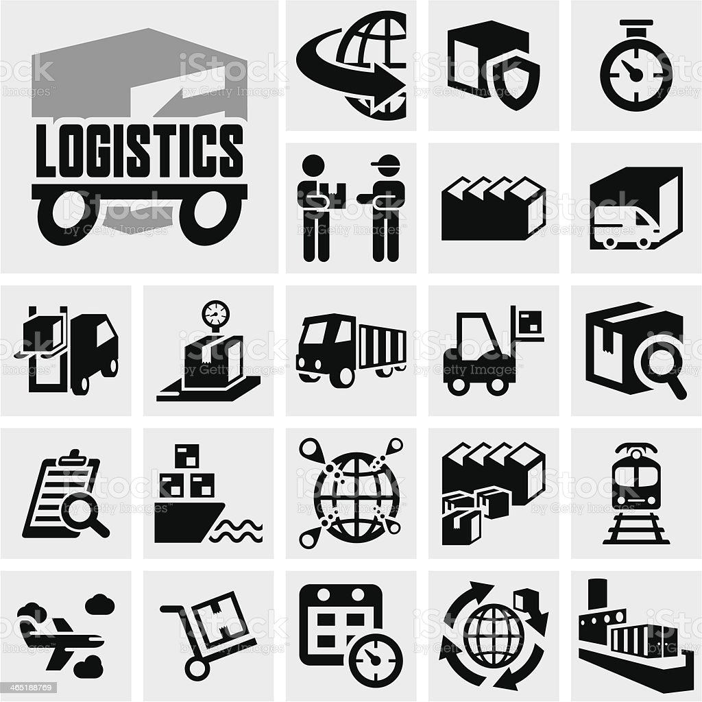 Logistics vector icon set on gray vector art illustration