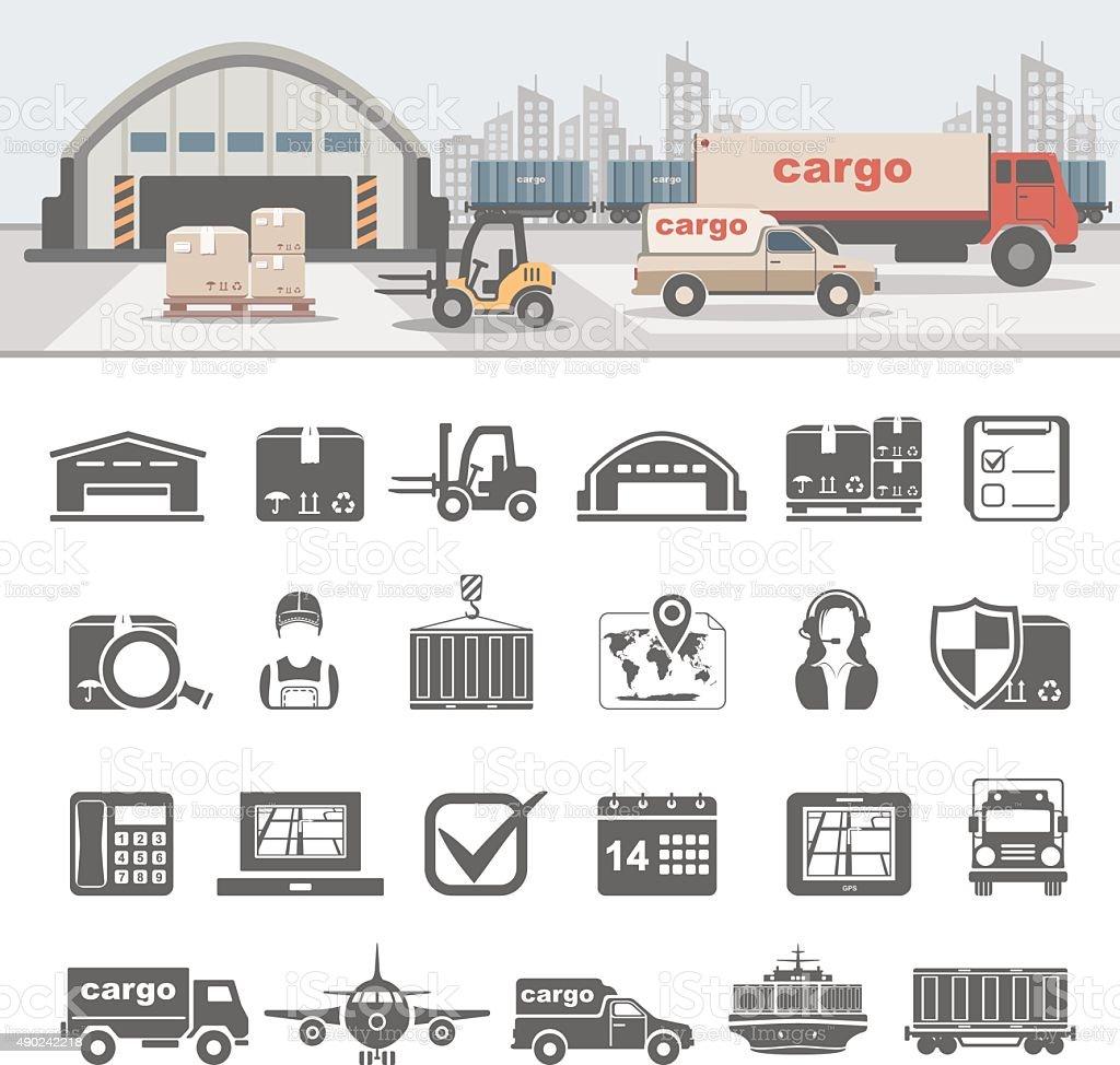 Logistics vector art illustration