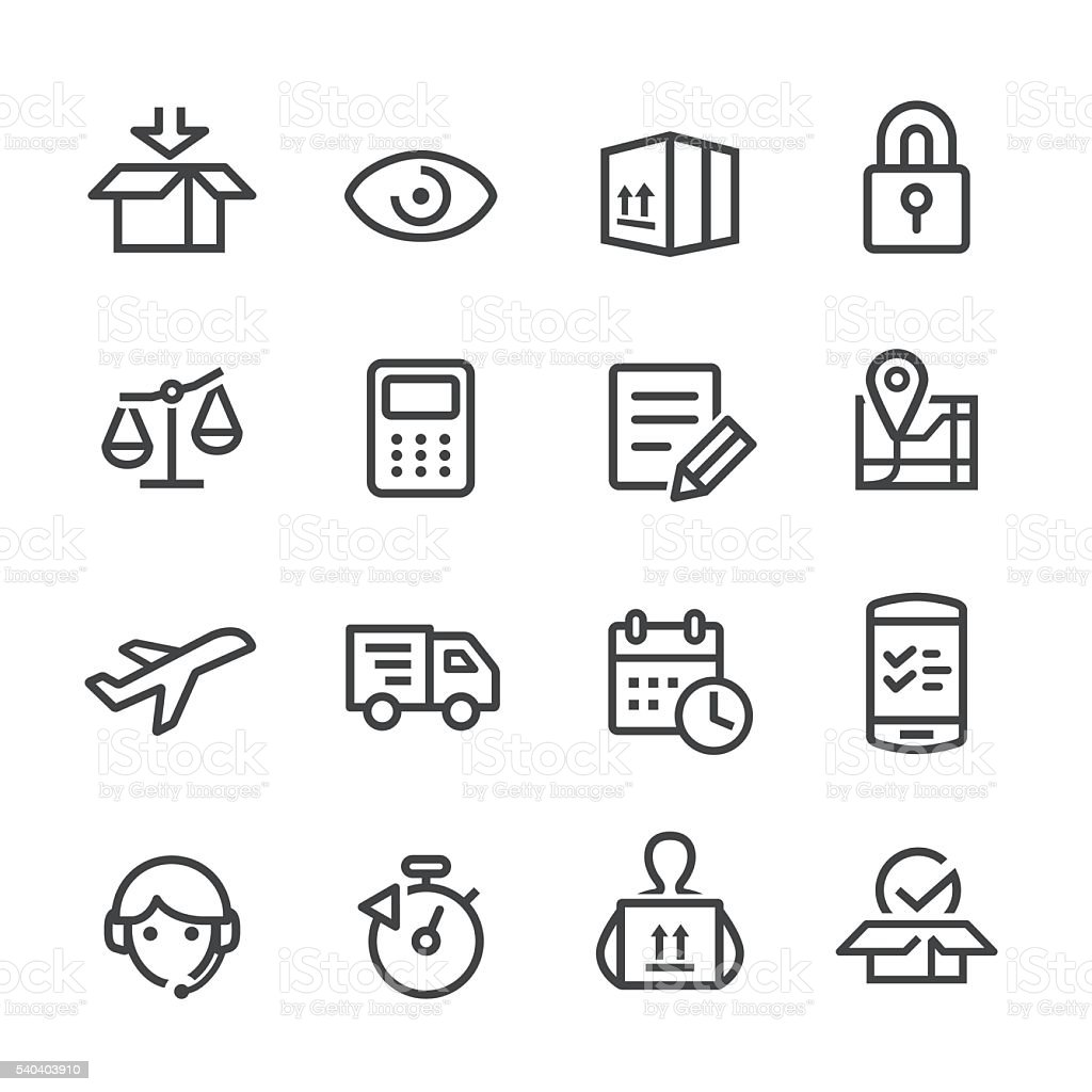 Logistics Workflow Icons - Line Series vector art illustration