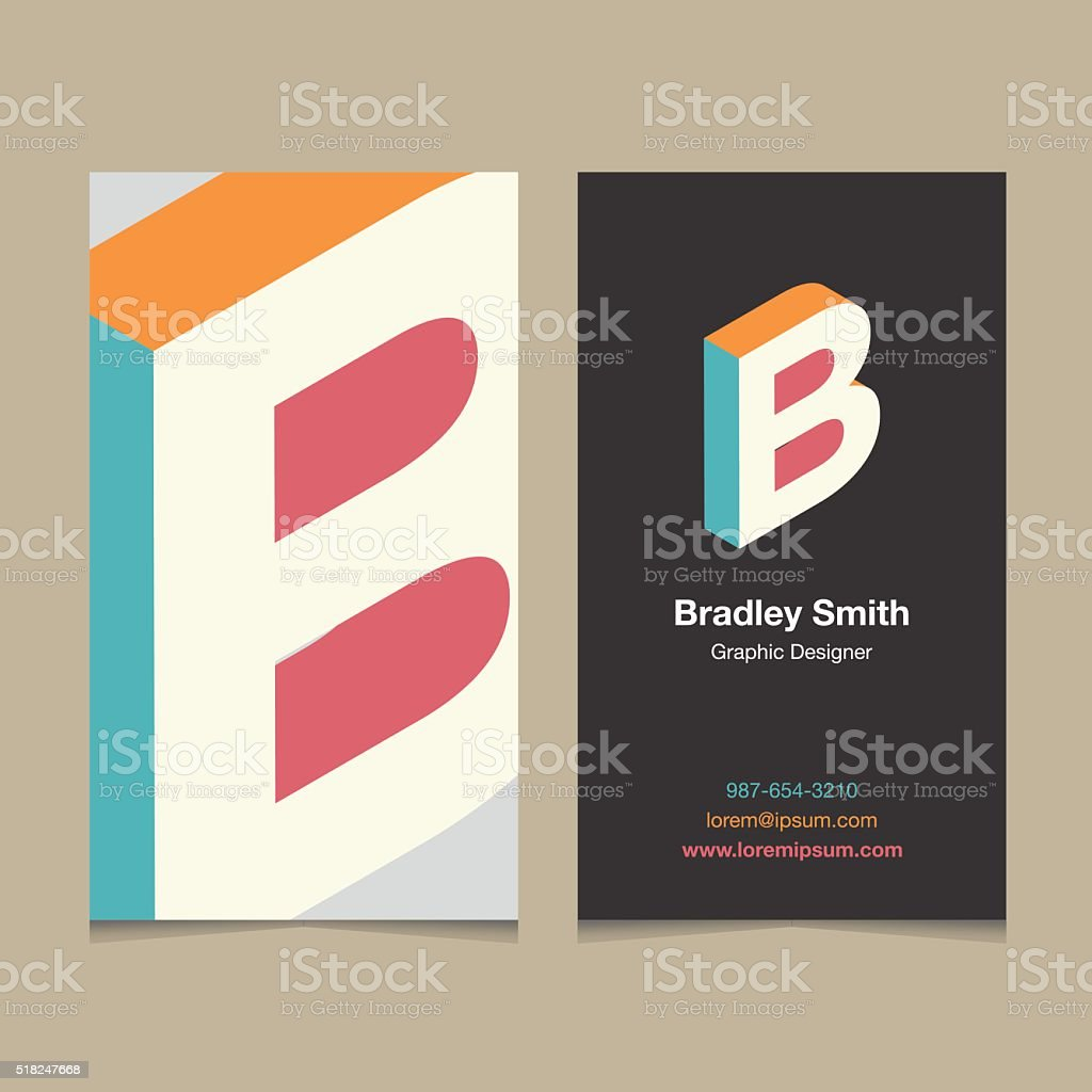 Logo alphabet letter 'B', with business card template. vector art illustration