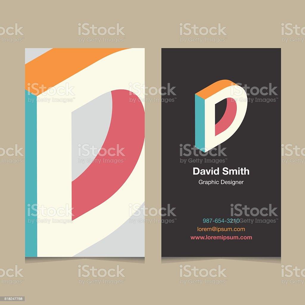 Logo alphabet letter 'D', with business card template. vector art illustration