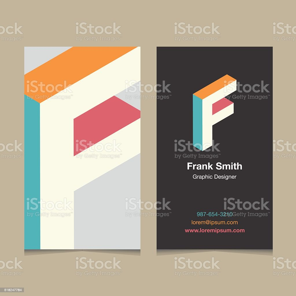 Logo alphabet letter 'F', with business card template. vector art illustration