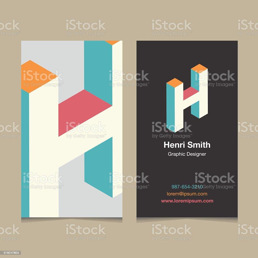 Logo alphabet letter 'H', with business card template. vector art illustration