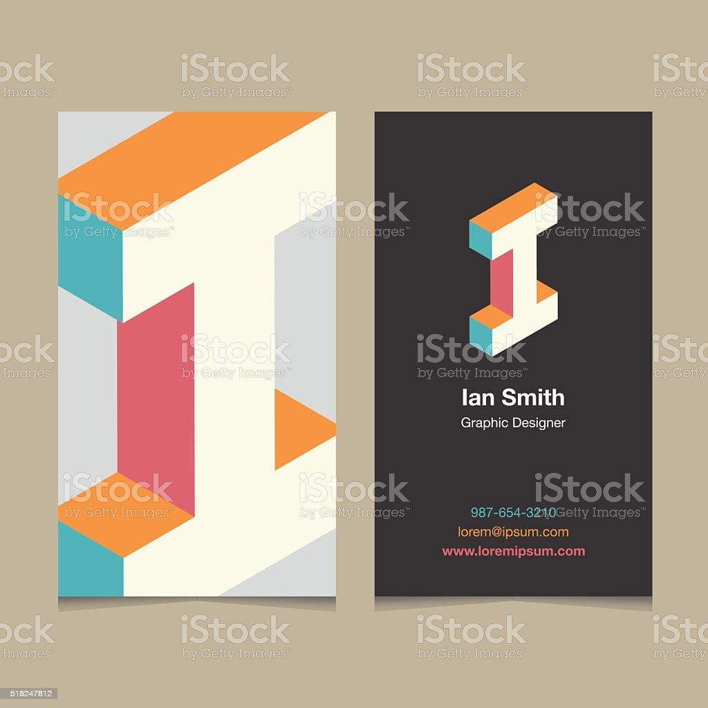 Logo alphabet letter 'I', with business card template. vector art illustration