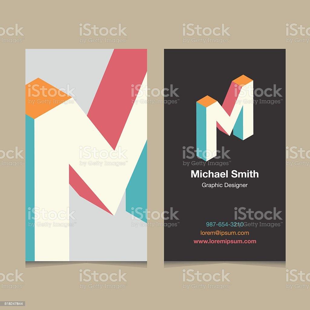 Logo alphabet letter 'M', with business card template. vector art illustration