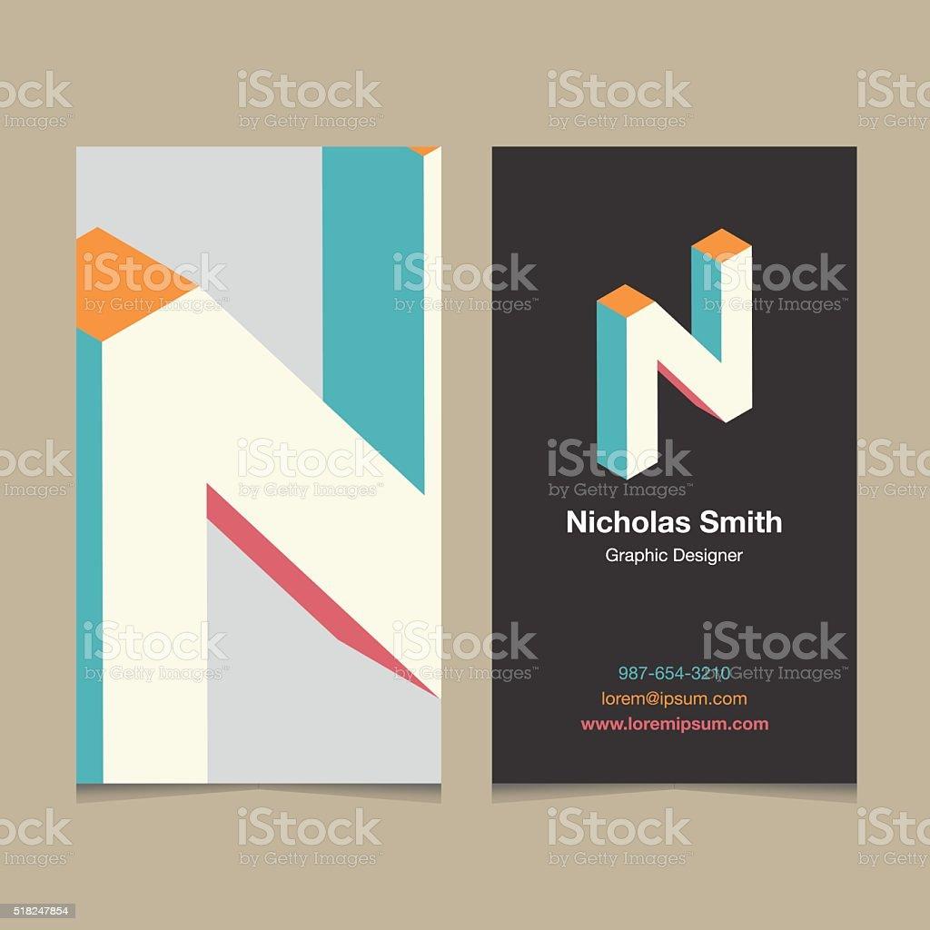 Logo alphabet letter 'N', with business card template. N vector art illustration
