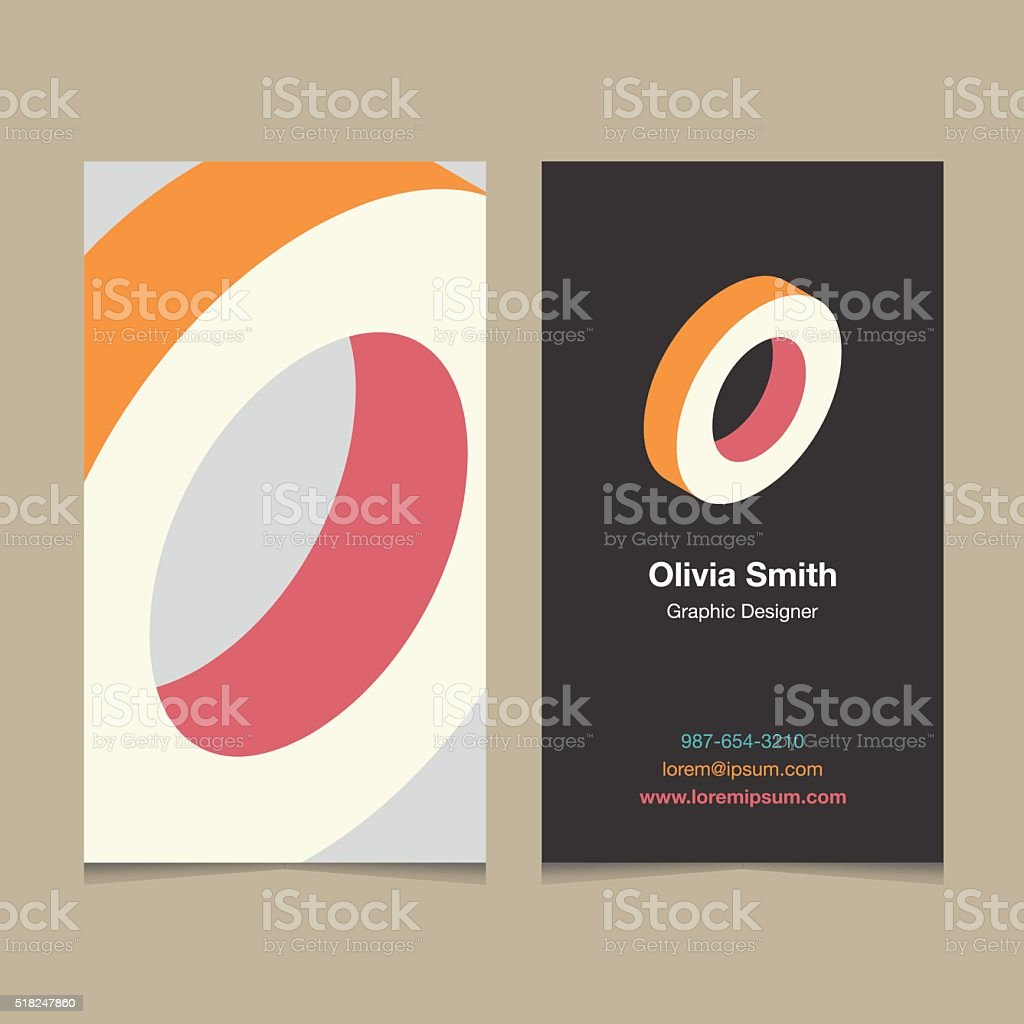 Logo alphabet letter 'O', with business card template. vector art illustration