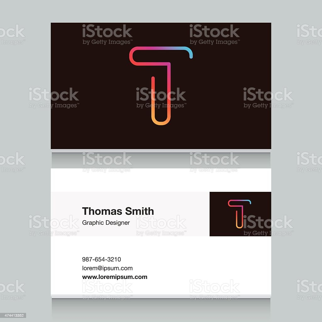Logo alphabet letter 'T', with business card template. vector art illustration