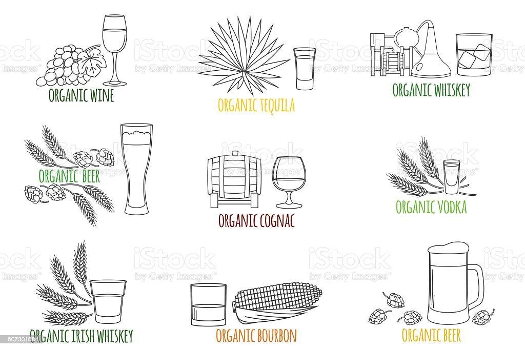 Logo, badge for alcoholic drinks. vector art illustration
