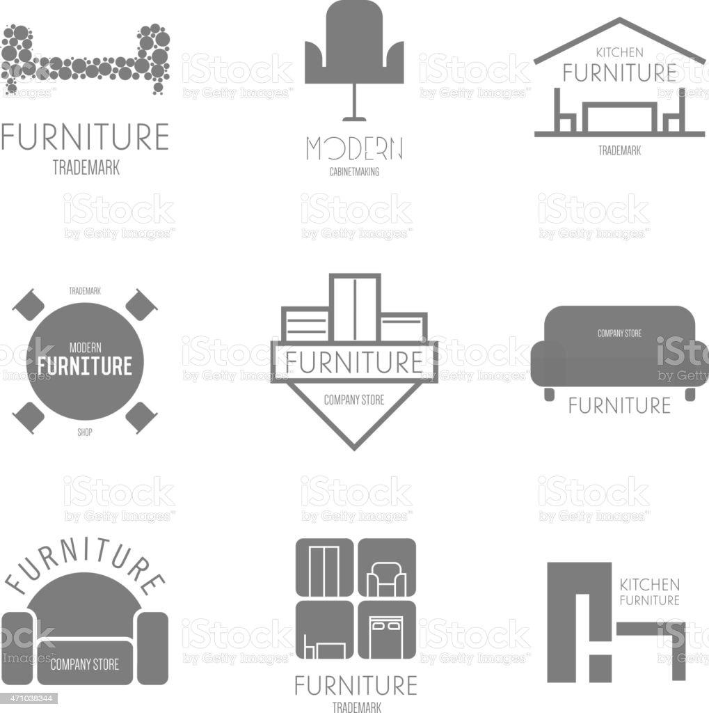 Furniture logo inspiration - Logo Badge Or Label Inspiration With Furniture Royalty Free Stock Vector Art