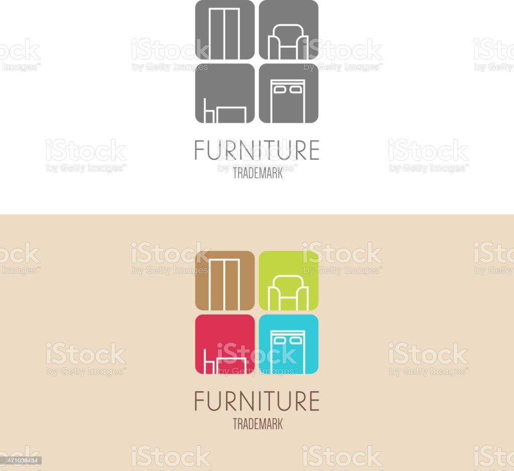 Logo, badge or label inspiration with furniture vector art illustration