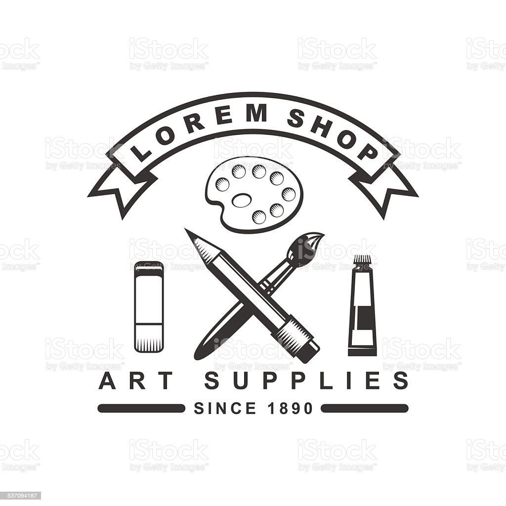 Logo concept for a shop of art supply. vector art illustration